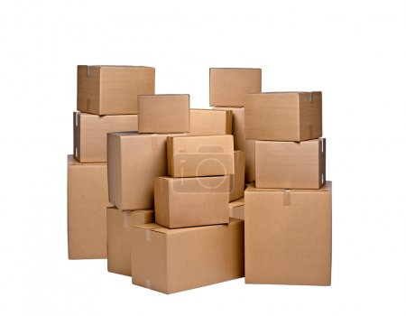 Photo for Different cardboard boxes on white - Royalty Free Image