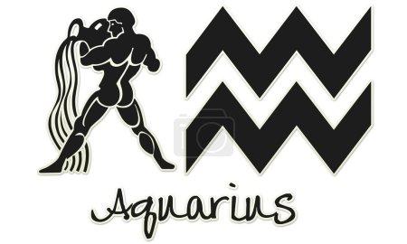 Aquarius Signs - Black Sticker