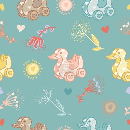 Canard jouet motif coutures