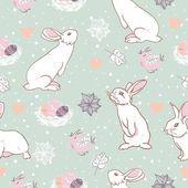 Rabbit easter seamless pattern