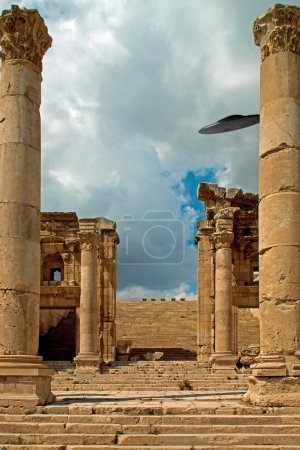 Columns of the ruins of Jerash, Jordan with a UFO sighting