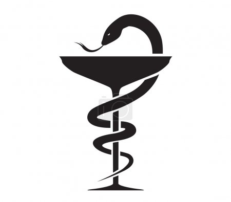 Photo for Pharmacy Icon with Caduceus Symbol - Royalty Free Image