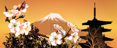 Photo for Postcard Sakura Japanese mountains and houses - Royalty Free Image