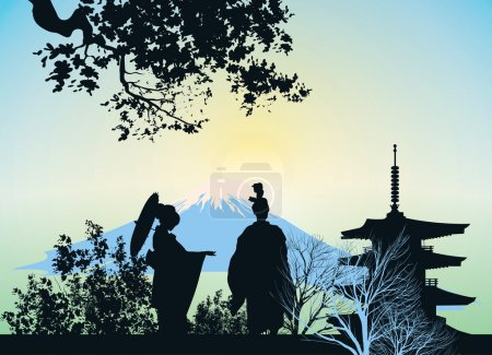 Photo for Beautiful picture of a geisha, mountains and trees - Royalty Free Image