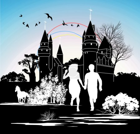 Silhouette running loving couple in front of the castle