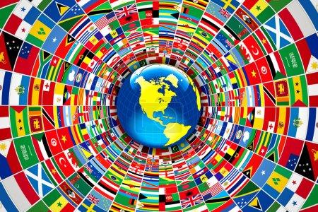 Photo pour Illustration dessin de drapeaux du monde - image libre de droit