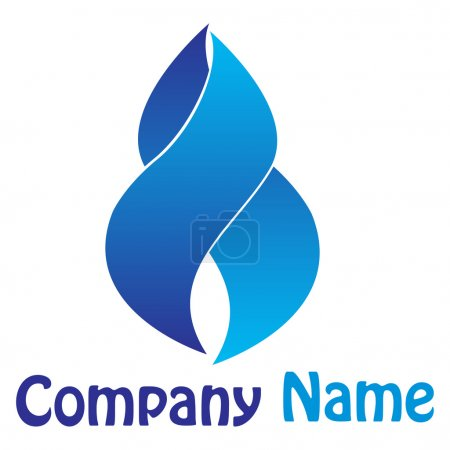 Photo pour Art illustration du logo de l'entreprise flamme bleue - image libre de droit