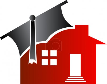Illustration for Illustration art of home graduation with isolated background - Royalty Free Image