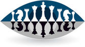 Illustration art of a eye view chess logo with isolated background
