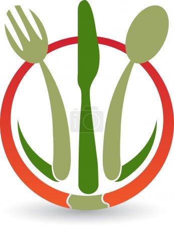 Illustration pour Illustration d'un logo de restaurant avec fond isolé - image libre de droit