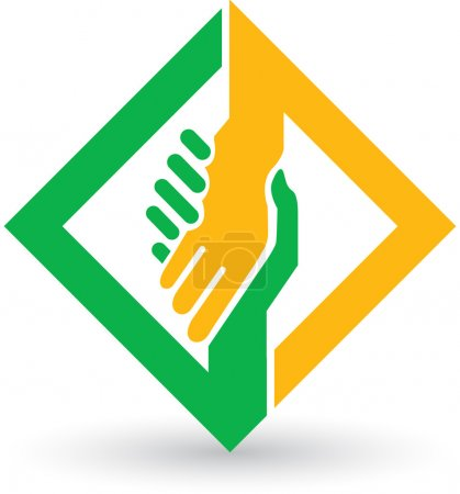 Illustration for Illustration art of a helping hands logo with isolated background - Royalty Free Image