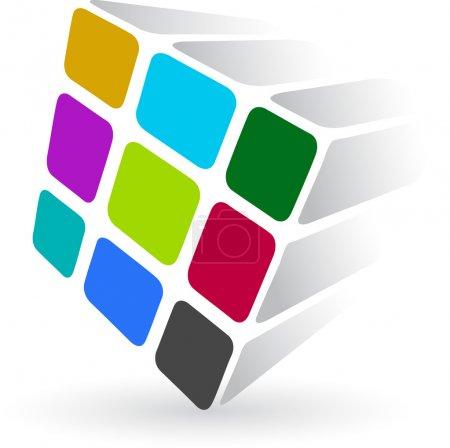 Colourful dice logo