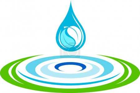 Illustration for Illustration art of a water ripples logo with isolated background - Royalty Free Image