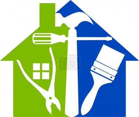 Photo pour Art illustration d'un logo d'outils maison avec fond isolé - image libre de droit