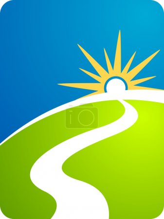 Illustration for Illustration art of a road path with isolated background - Royalty Free Image