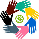 Illustration art of a teamwork hand logo with isolated background