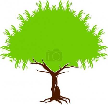 Illustration for Illustration art of a tree hands with isolated background - Royalty Free Image