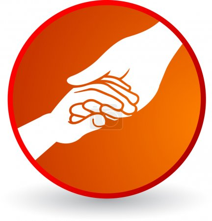 Illustration for Illustration art helping hand of with isolated background - Royalty Free Image
