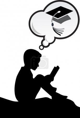 Illustration for Illustration art of a aim graduation boy with isolated background - Royalty Free Image