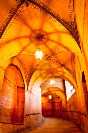 Historical hallway in old castne, beautiful light