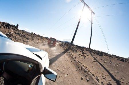 Driving in the rock desert - dangerous road