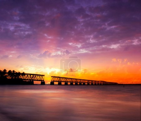 Florida Keys, broken bridge at sunset or sunrise