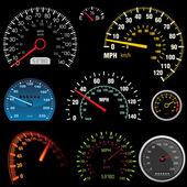 Set of car speedometers