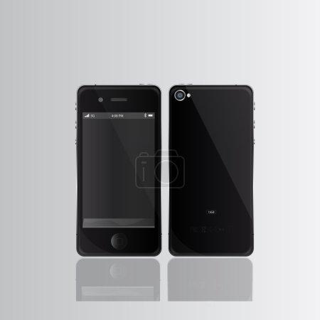 """Illustration pour Smartphones noirs - n'importe quelle image peut être placée à l """"écran et l'image ane re-taille à n'importe quelle limite - image libre de droit"""