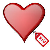 Sold heart illustration with sold tag