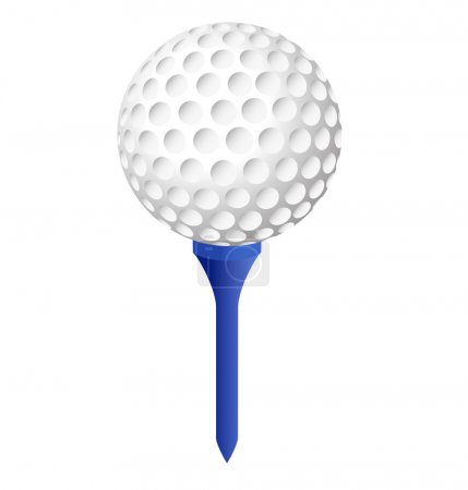 Illustration for Golf ball on blue peg with white background - Royalty Free Image