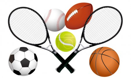 Sports balls and tennis rackets