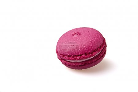 Photo for One pink macaroon isolated on white background - Royalty Free Image