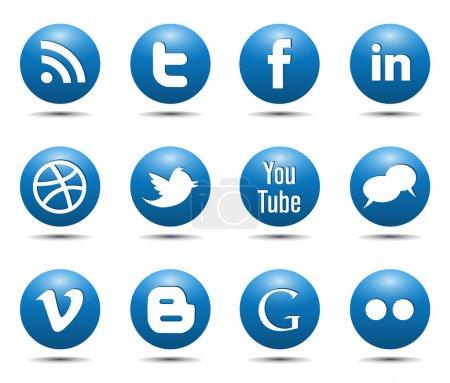 Illustration pour Vecteur de médias sociaux bleu icônes boutons brillant - image libre de droit