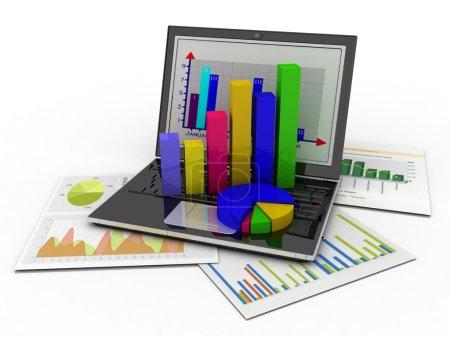Photo pour Ordinateur portable montrant une feuille de calcul et un papier avec des graphiques statistiques, entouré de quelques graphiques 3D - image libre de droit