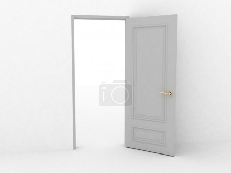 Photo pour Porte ouverte sur fond blanc, images 3D - image libre de droit