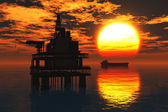 "Постер, картина, фотообои ""Oil Field Pumps Silhouettes in the Sunset 3D render ö2"""