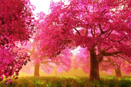 Photo for Mysterious Cherry Blossoms Tree cartoony 3D render - Royalty Free Image