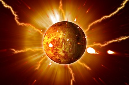 Red Planet Sun Flares Storm Erupting