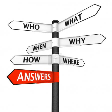 Photo for Crossroads sign with questions in every direction and answers pointer highlighted in red - Royalty Free Image