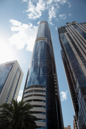 Photo for High modern skyscrapers on background of the blue sky. Dubai, Emirates. - Royalty Free Image