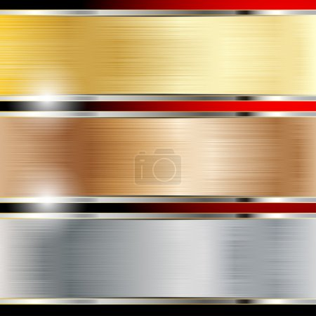 Illustration for Illustration of a metal background, copper, steel and gold. Set. Vector. - Royalty Free Image
