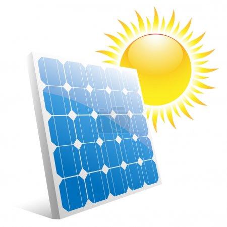 Illustration pour Illustration du soleil et des panneaux solaires. Vecteur . - image libre de droit