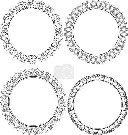 Illustration pour Cadres ronds décoratifs - image libre de droit