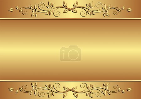 Illustration for Golden background with floral ornaments - Royalty Free Image