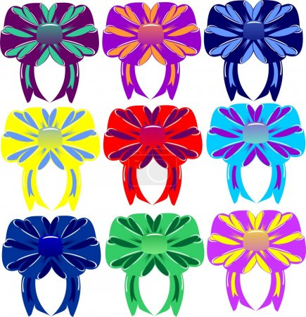 Group of multi-colored bows and tapes