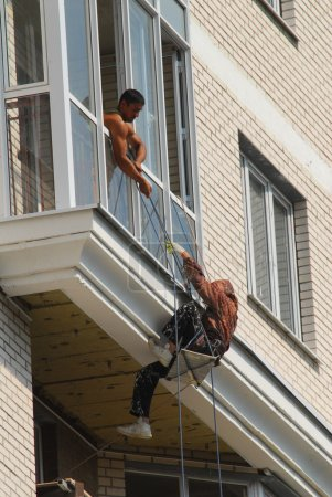 Migrant workers on construction sites in Moscow