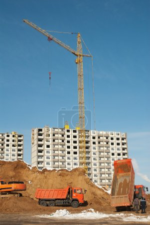 Construction of residential in suburbs of Moscow