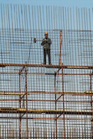Russia. Moscow. Rebar reinforcement at a construction site