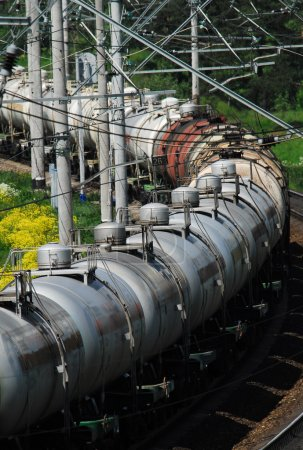 Russia. Oil tank truck train