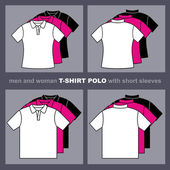 T-shirts templates Men and woman polo t-shirts Vector illustration